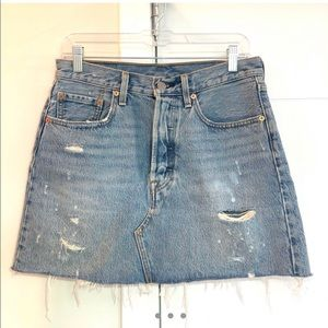 Levi's high-rise distressed jean skirt